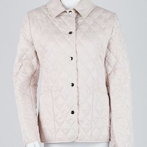 BURBERRY Pink Quilted Button Down Jacket, S